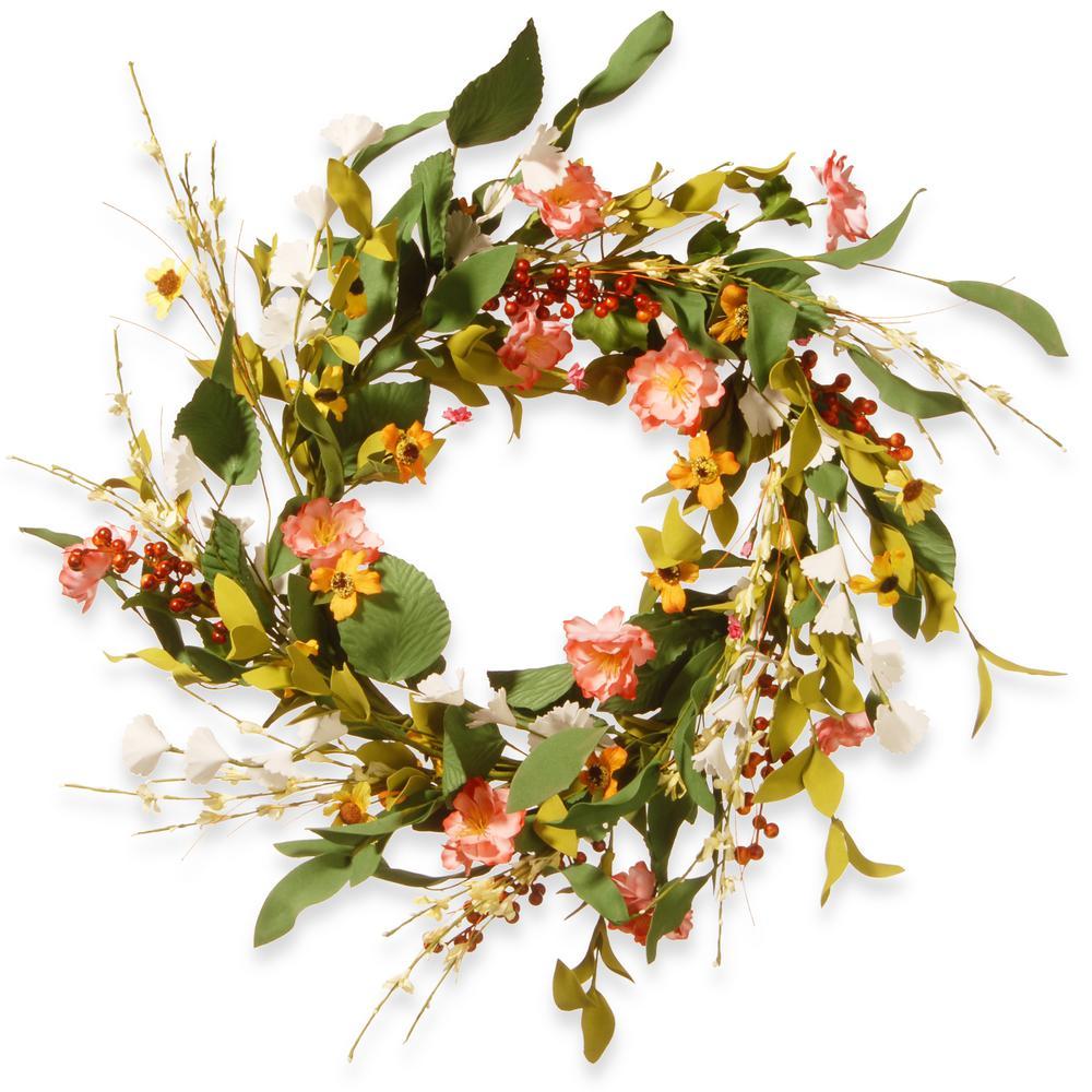 National Tree Company 22 in. Flower Wreath RAS-GFIW655-1