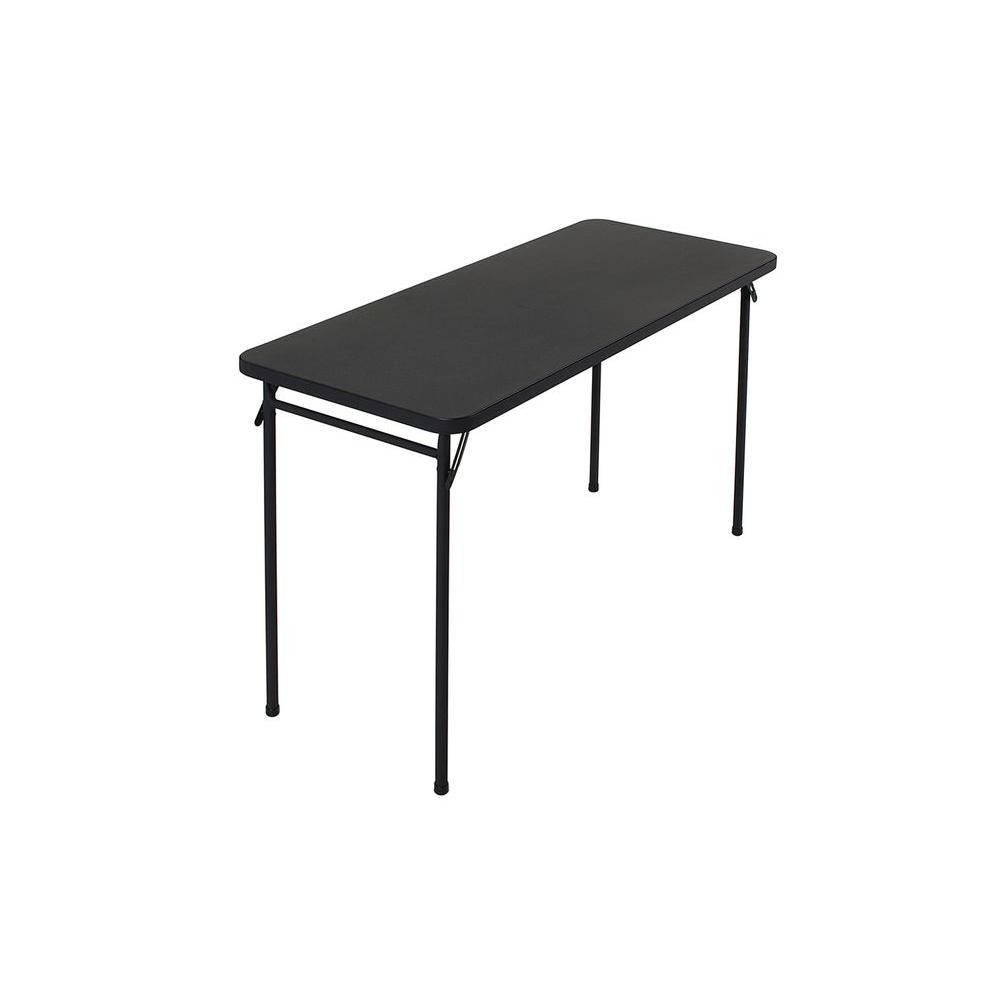 Cosco 20 in. x 48 in. ABS Black Top Folding Table