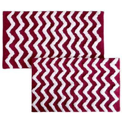 Chevron Burgundy 24.5 in. x 41 in. 2-Piece Bathroom Mat Set
