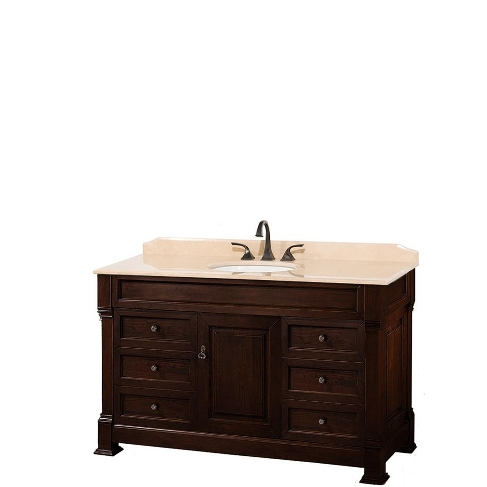 Wyndham Collection Andover 55 in. W x 23 in. D Bath Vanity in Dark Cherry with Marble Vanity Top in Ivory with White Basin