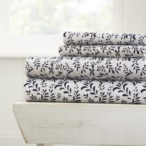 Burst of Vines Patterned 4-Piece Navy King Performance Bed Sheet Set