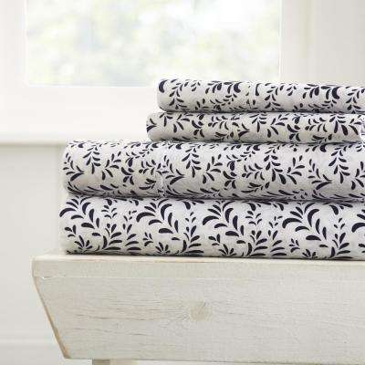 Burst of Vines Patterned 4-Piece Navy Queen Performance Bed Sheet Set