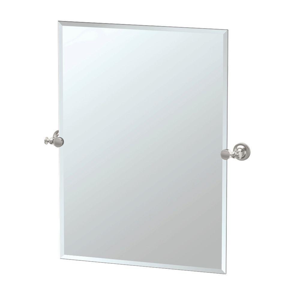 Tavern 28 in. W x 32 in. H Frameless Rectangular Bathroom Vanity Mirror in Satin Nickel