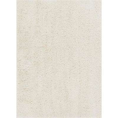 Nomad Plain 5 ft. 3 in. x 7 ft. 3 in. Modern Solid White Shag Area Rug