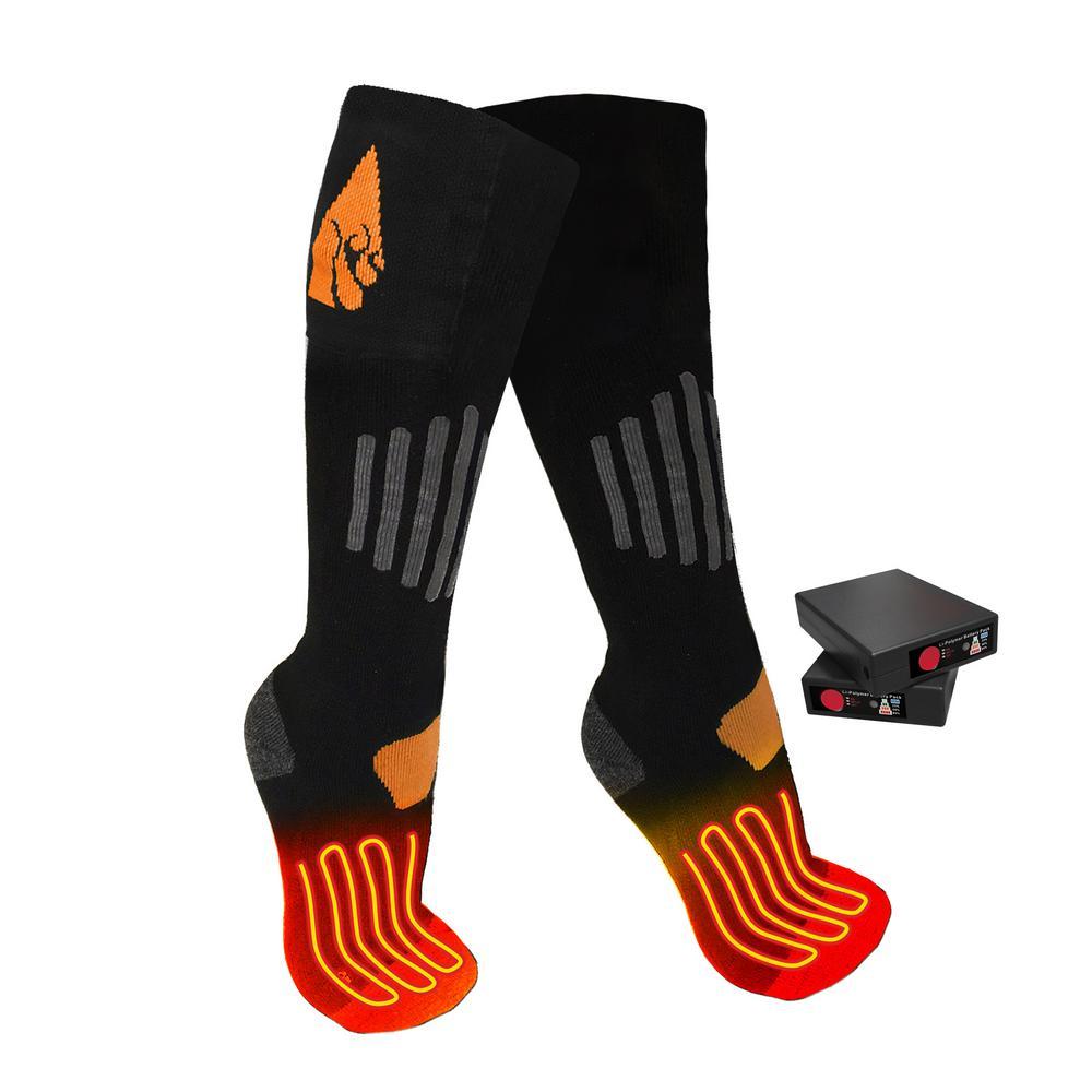 Small/Medium Black Wool 3.7-Volt Heated Sock