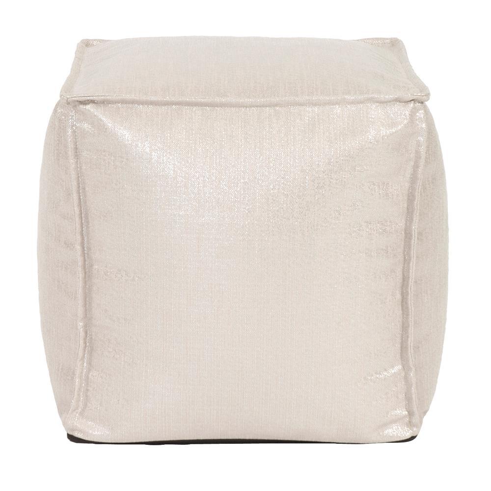 Square Pouf Glam Sand White Ottoman