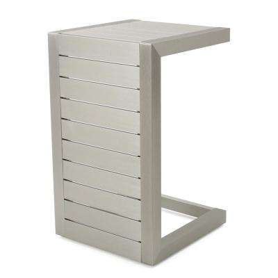 Cape Coral Silver C-Shaped Aluminum Outdoor Accent Table