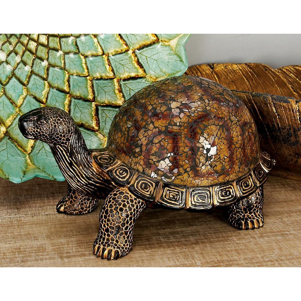 Litton Lane Round Polystone Sea Turtle Standing Sculpture-49877 ...