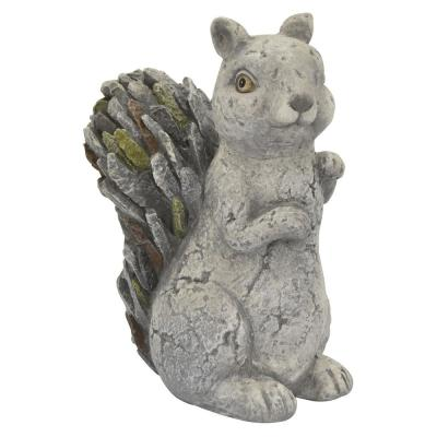 12 in. L x 8 in. W x 16 in. H Resin/Magnesium Squirrel Garden Decoration in Gray
