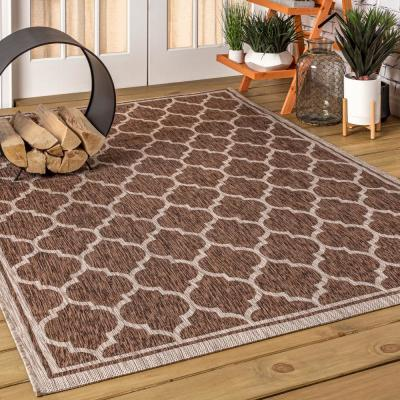 Trebol Moroccan Trellis Espresso/Taupe 7 ft. 9 in. x 10 ft. Textured Weave Indoor/Outdoor Area Rug