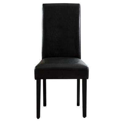 Savona Black Synthetic Leather Contemporary Dining Accent Chair Set of 2
