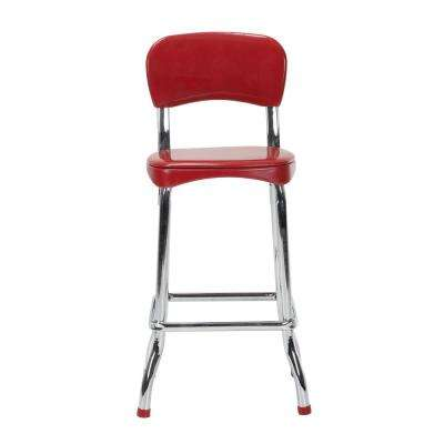 Retro 2-Piece Red and Chrome 34in. H High Top Chairs