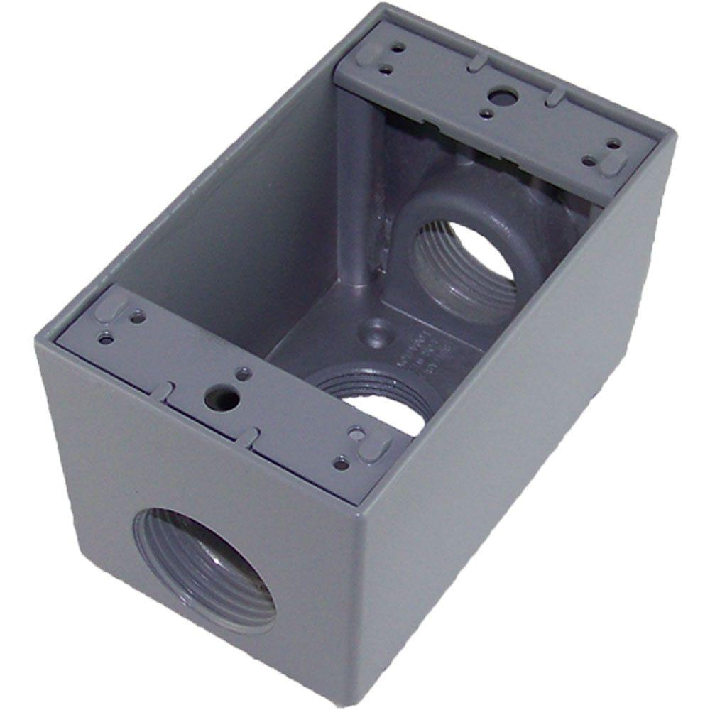 Greenfield 1 Gang Weatherproof Deep Electric Outlet Box with Three 1 in   Holes - Gray