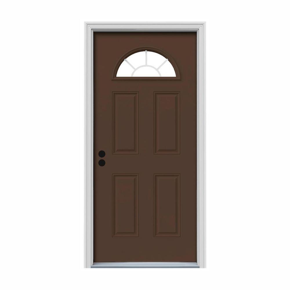 32 in. x 80 in. Fan Lite Dark Chocolate Painted Steel Prehung Right-Hand Inswing Front Door w/Brickmould