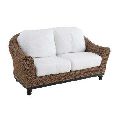Camden Light Brown Wicker Outdoor Loveseat with Cushions Included, Choose Your Own Color