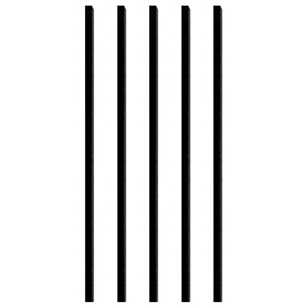 Pegatha 32 in. x 3/4 in. Black Aluminum Square Deck Railing Baluster (5-Pack)