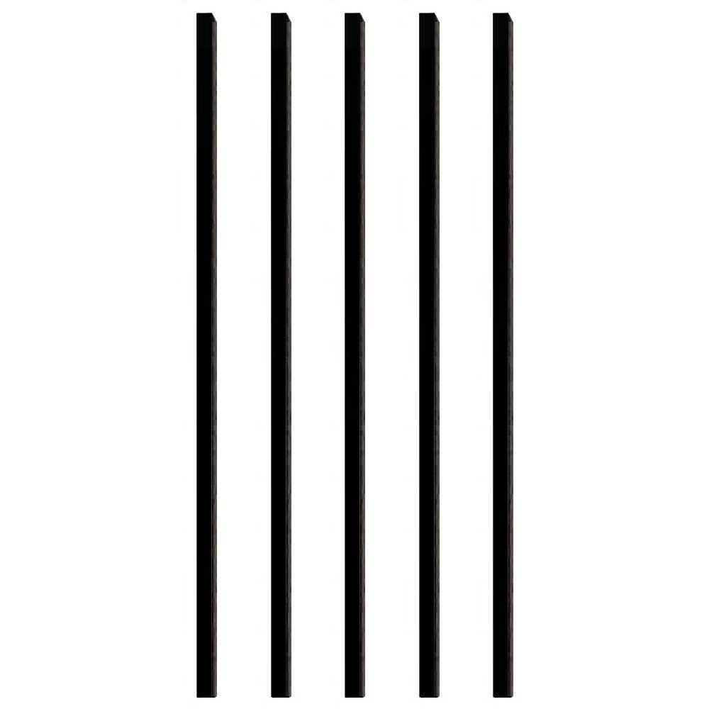 32 in. x 3/4 in. Black Aluminum Square Deck Railing Baluster (5-Pack)