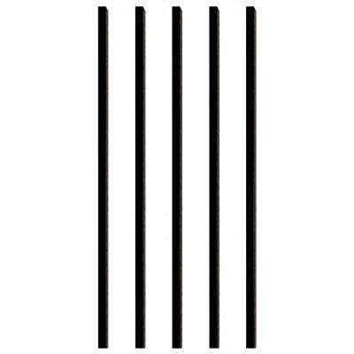 32 in. x 3/4 in. Black Aluminum Square Deck Railing Baluster (5-Pack)
