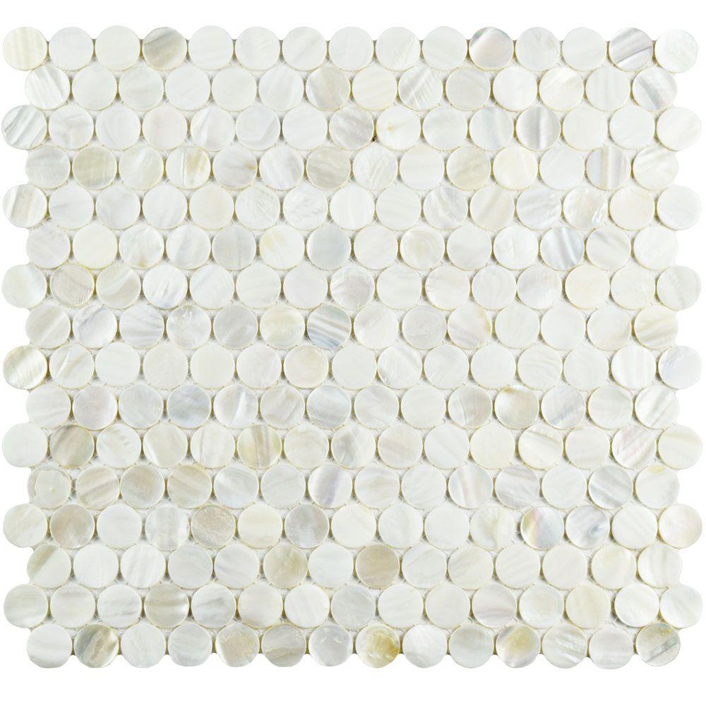 Splashback Tile Pacif White Penny Round 12.51 in. x 12.79 in. x 2 mm ...