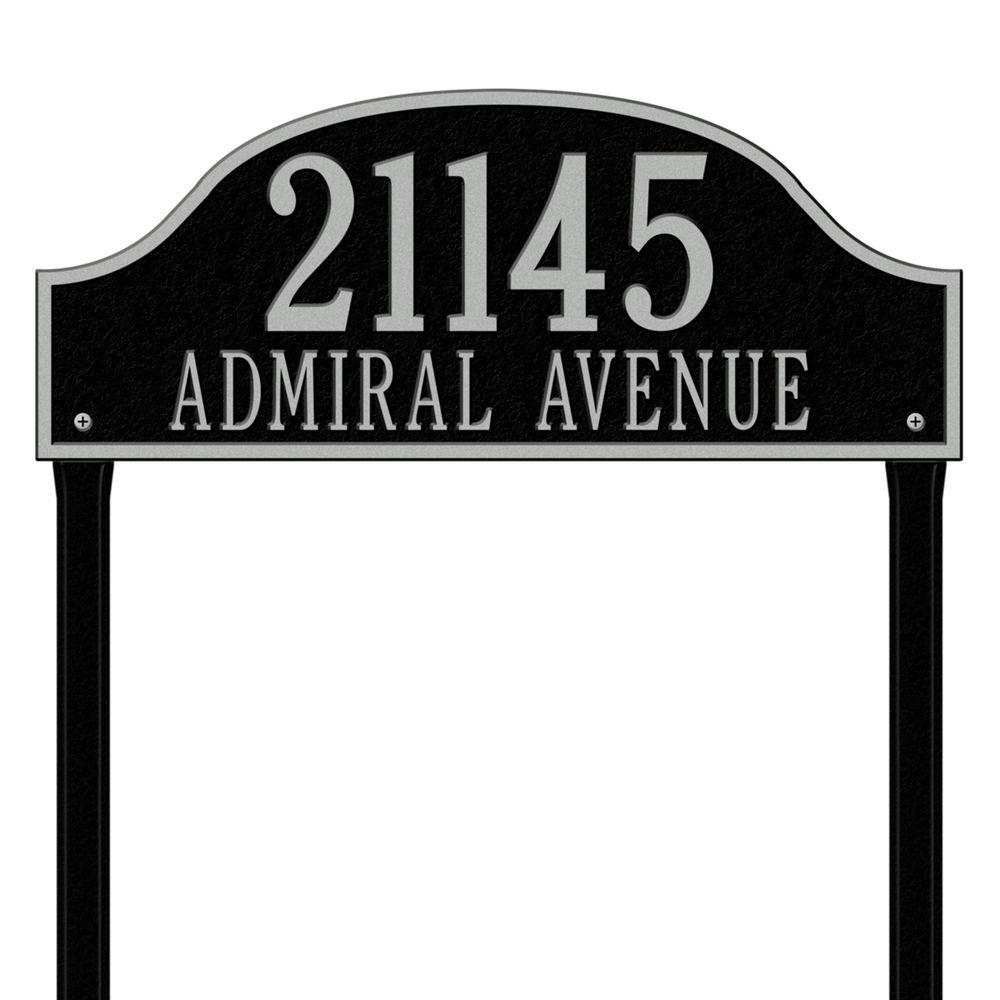 Whitehall Products Admiral Estate Arch Black/Silver Lawn Two Line Address Plaque