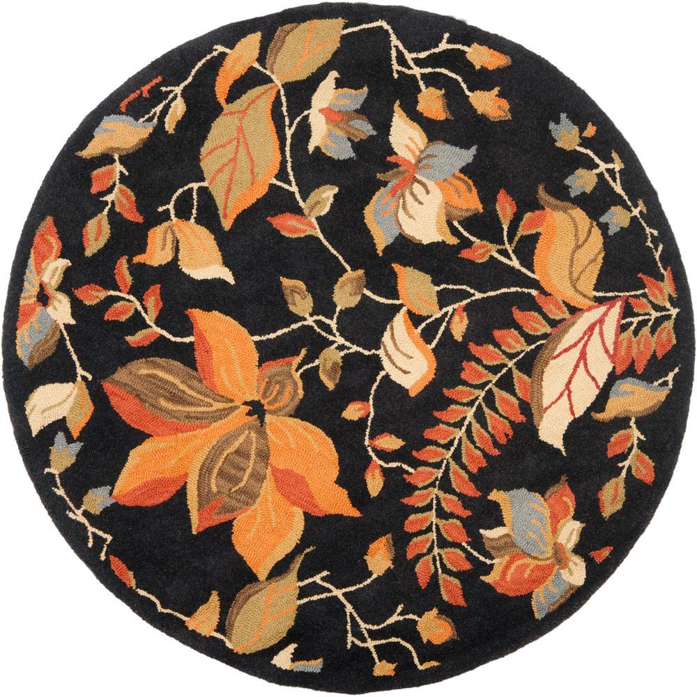Blossom Black/Multi 6 ft. x 6 ft. Round Area Rug