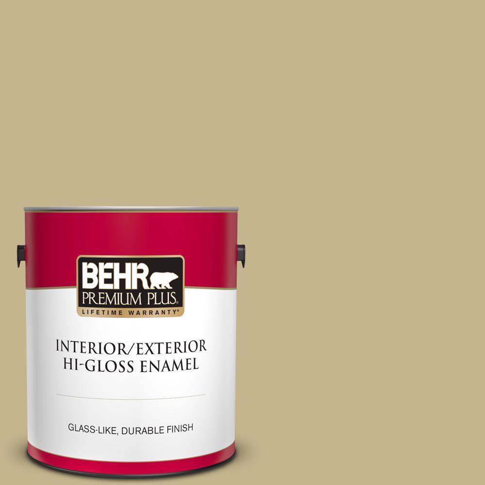 Behr Premium Plus 1 Gal Bic 27 Modish Moss Hi Gloss Enamel Interior Exterior Paint 840001 The Home Depot