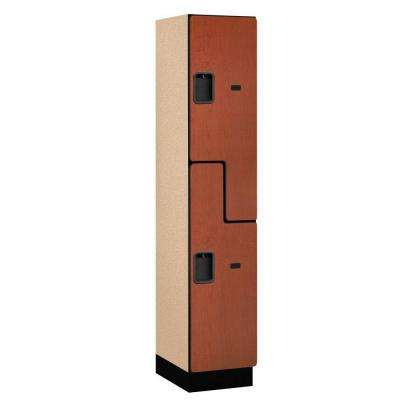 27000 Series 2-Tier 'S-Style' Wood Extra Wide Designer Locker in Cherry - 15 in. W x 76 in. H x 18 in. D