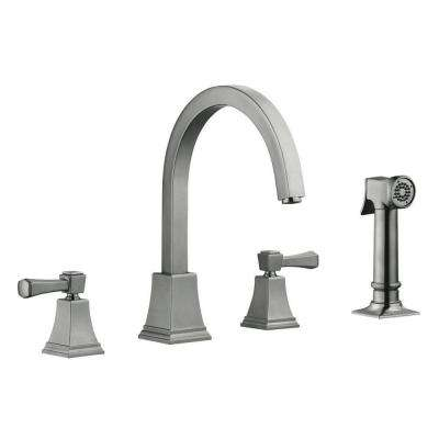 Torino 2-Handle Standard Kitchen Faucet with Side Sprayer in Satin Nickel