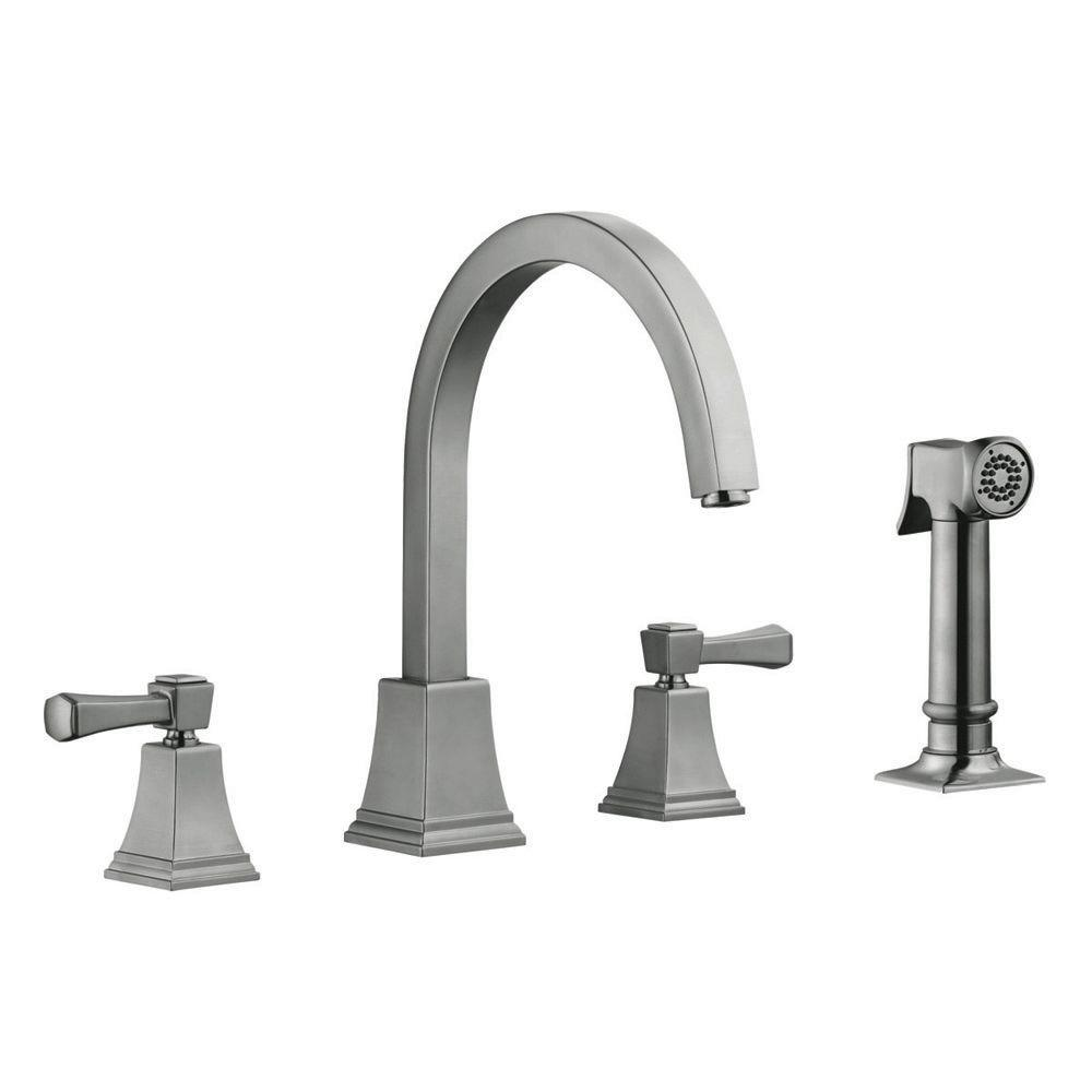 design house torino 2 handle standard kitchen faucet with side sprayer in satin nickel 522110. Black Bedroom Furniture Sets. Home Design Ideas