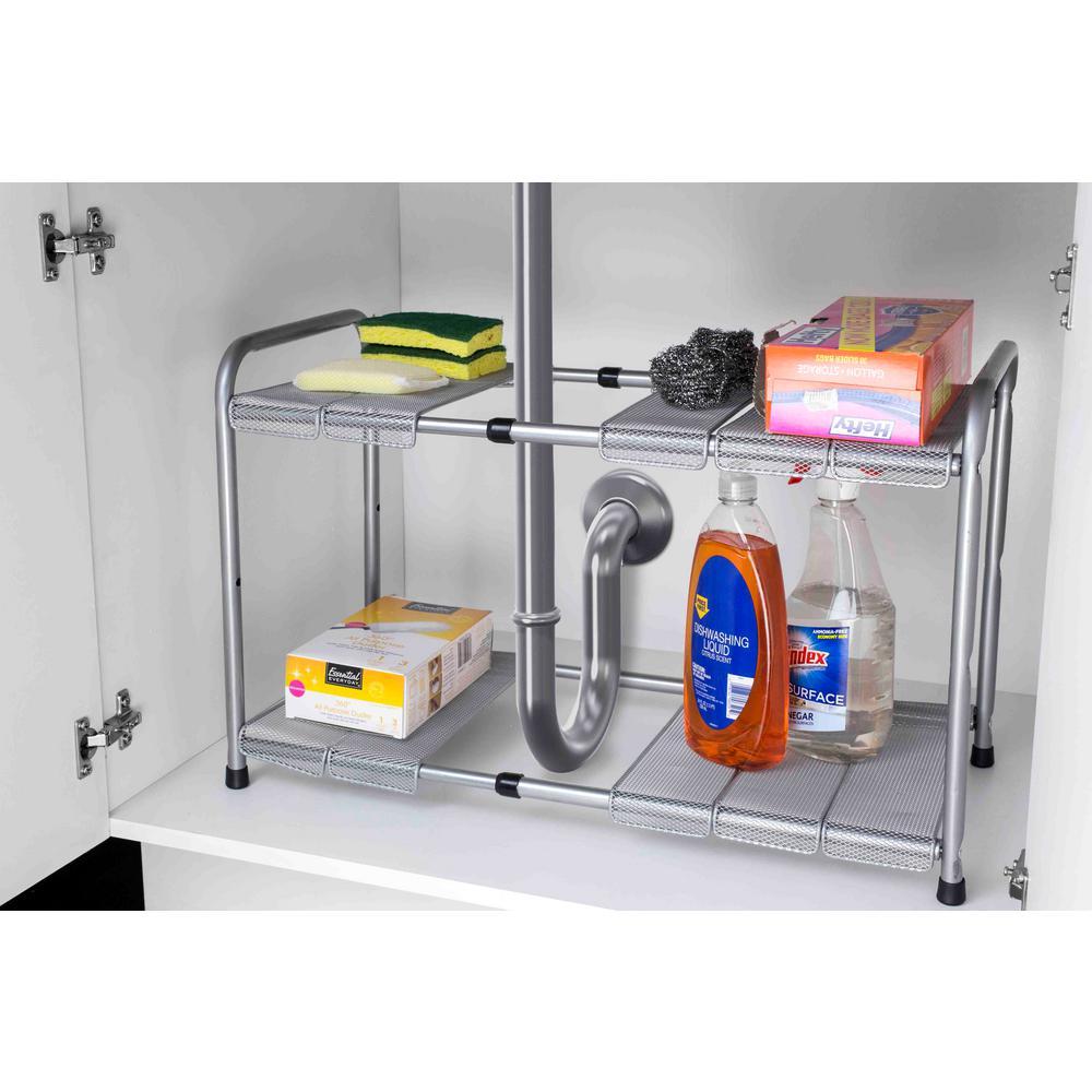 Home Basics 11.50 in. x 23.5 in. 2-Tier Adjustable and Kitchen Shelf  Organizer