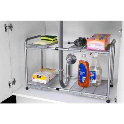 11.50 in. x 23.5 in. 2-Tier Adjustable and Kitchen Shelf Organizer