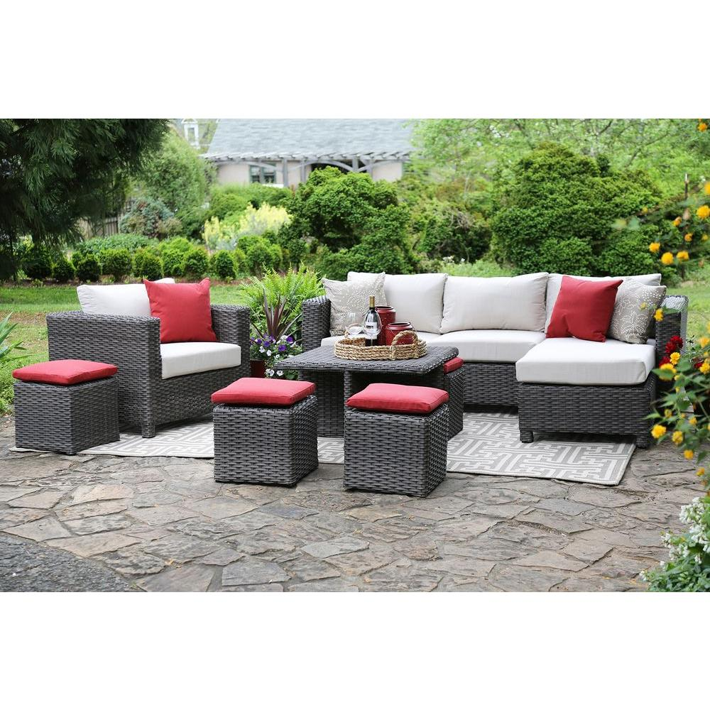 AE Outdoor Carson 9-Piece All-Weather Wicker Patio Deep Seating Set with Sunbrella Beige Cushions