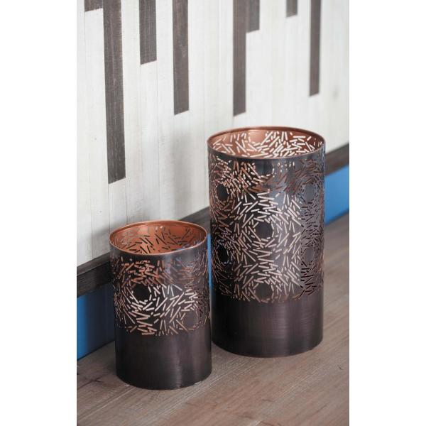 Gray and Bronze Iron Metal Cylindrical Candle Holder with Circular Pattern Cutouts (Set of 2)