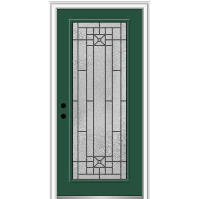 34 in. x 80 in. Courtyard Right-Hand Full Lite Decorative Painted Fiberglass Smooth Prehung Front Door, 4-9/16 in. Frame