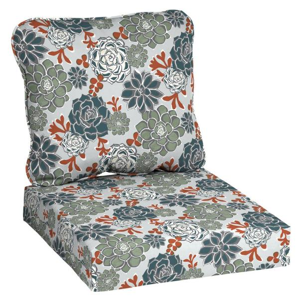 24 in. x 22 in. Shadow Gray Succulents Deep Seating Outdoor Lounge Chair Cushion