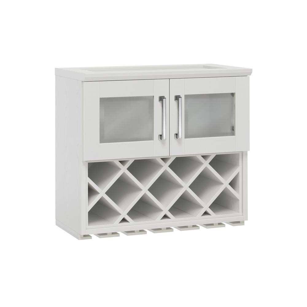 NewAge Products Home Bar White Wall Wine Rack Cabinet