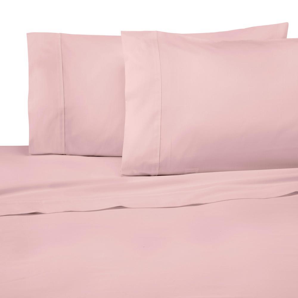 Solid Color T300 3-Piece Light Rose Cotton Twin Sheet Set