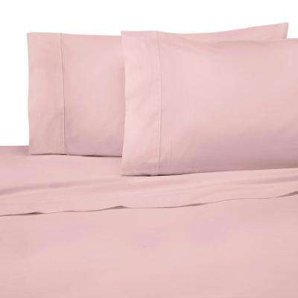 Solid Color T300 4-Piece Light Rose Cotton Full Sheet Set