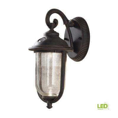 Perdido Rustic Bronze Outdoor Integrated LED 6 in. Wall Mount Lantern with Photocell