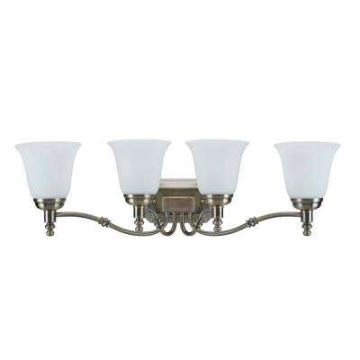 4-Light Antique Brass Vanity Light with Frosted Glass Shade