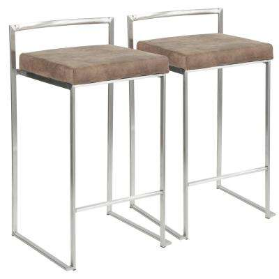 Fuji 26 in. Stainless Steel Stackable Counter Stool with Brown Cowboy Fabric Cushion (Set of 2)