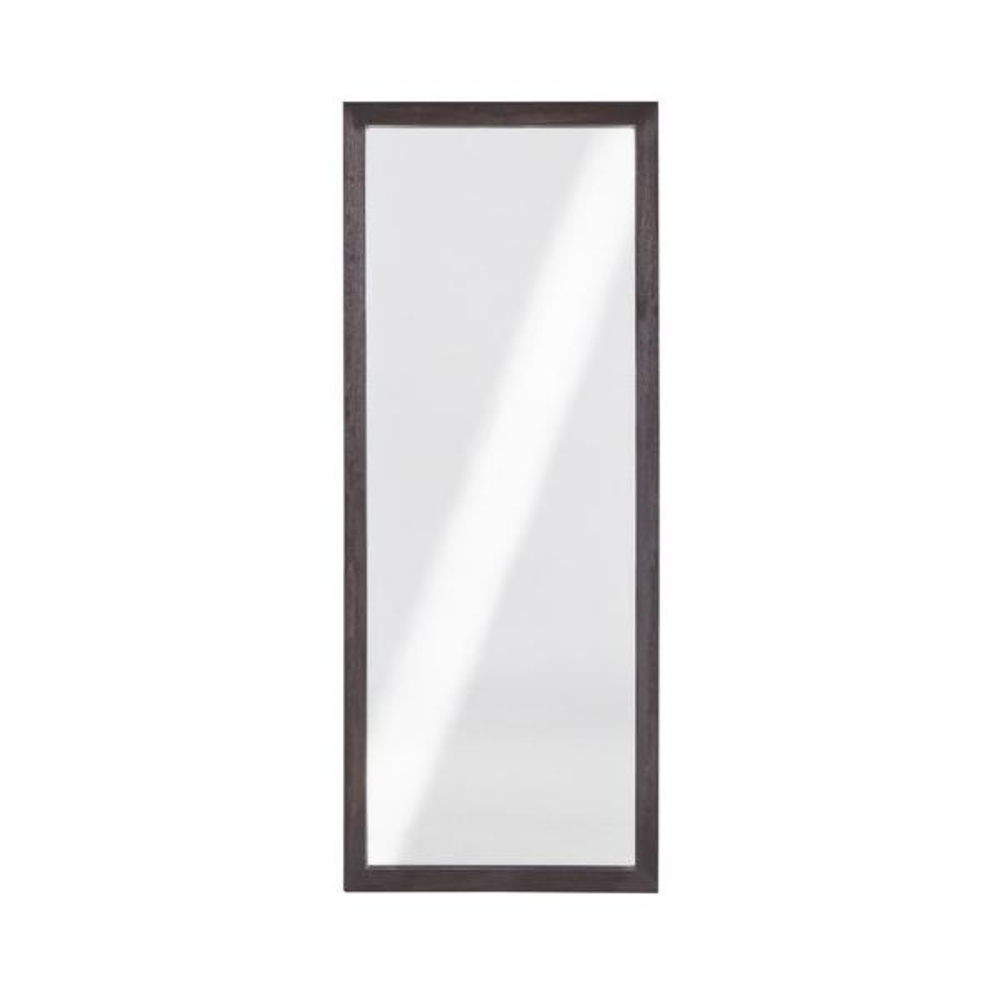Oversized Basalt Grey Wood Beveled Glass Mid-Century Modern Mirror (72 in. H X 24 in. W)