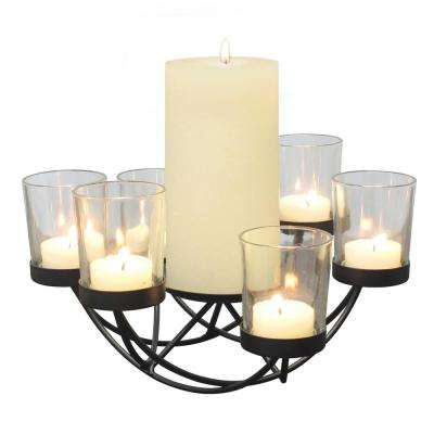 Black Metal 6-Votive with Pillar Candle Holder Centerpiece