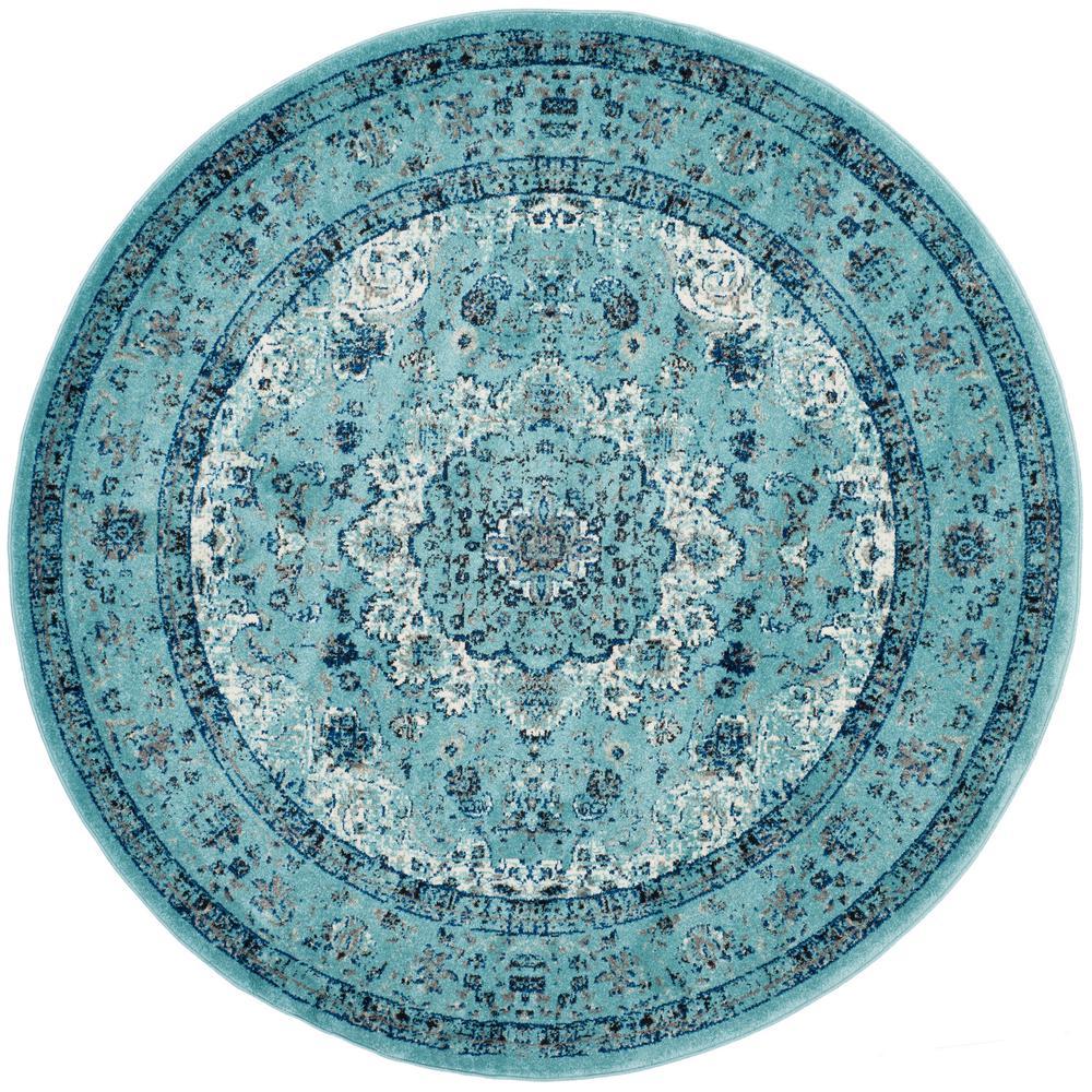 Evoke Light Blue 3 ft. x 3 ft. Round Area Rug