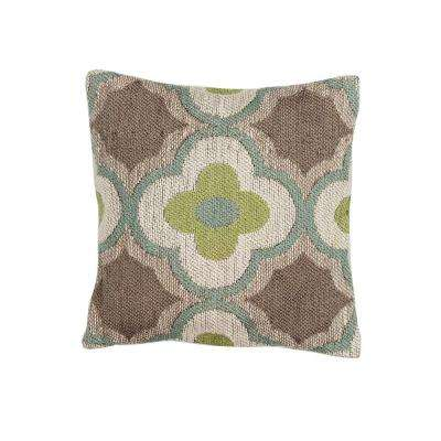 Knits Aruba Taupe and Sage Geometric Hypoallergenic Polyester 18 in. x 18 in. Throw Pillow