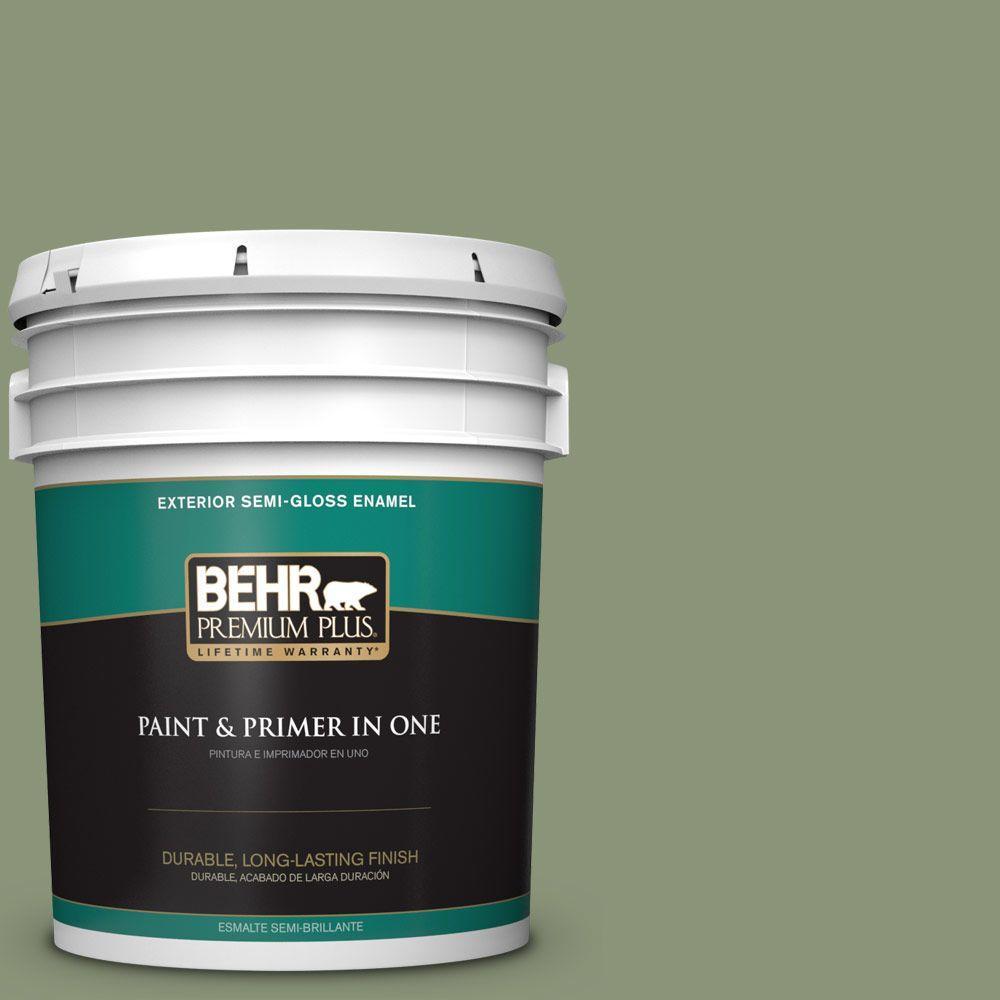 BEHR Premium Plus 5-gal. #420F-5 Olivine Semi-Gloss Enamel Exterior Paint
