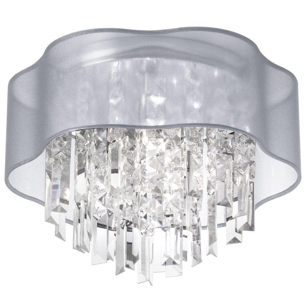 Radionic Hi Tech Illusion 4-Light Polished Chrome Crystal Flushmount with Silver Laminated Organza Shade