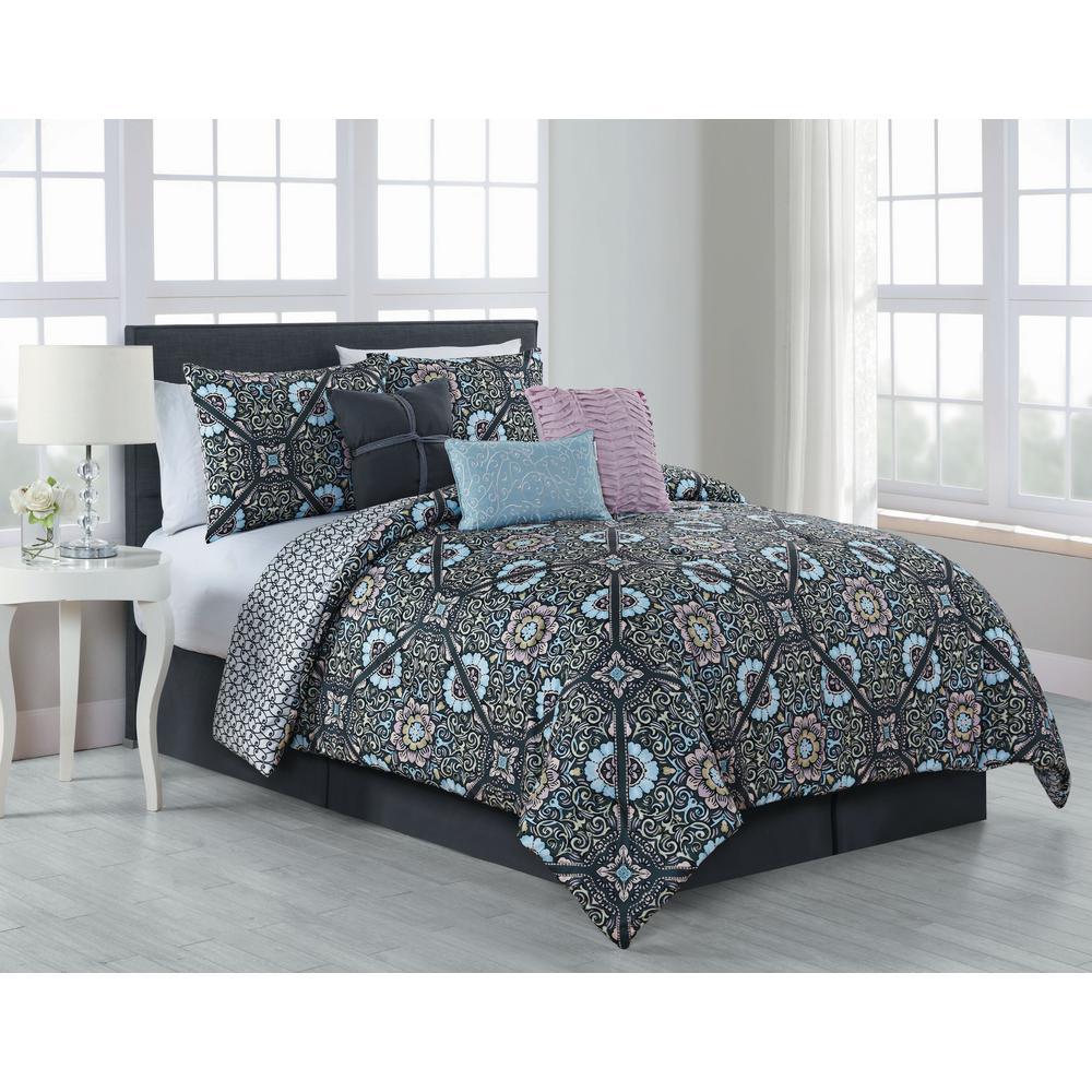 Avondale Manor Etta 7 Piece Comforter Set Queen Charcoal