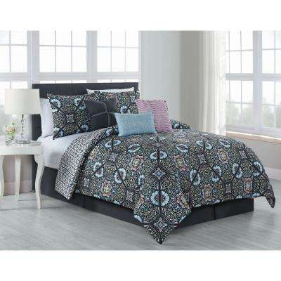 Etta 7-Piece Comforter Set Queen Charcoal