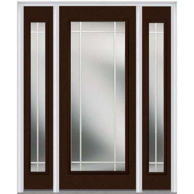 60 in. x 80 in. Prairie Internal Muntins Right-Hand Full Lite Classic Painted Steel Prehung Front Door with Sidelites